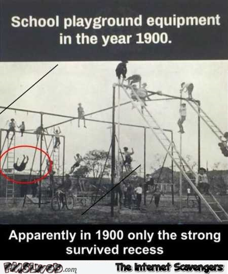 School playground equipment in 1900 funny meme @PMSLweb.com