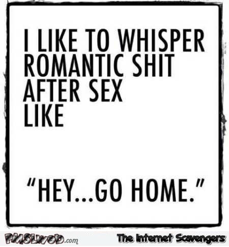 I like to whisper romantic shit after sex funny quote @PMSLweb.com