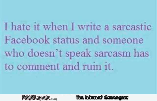 When I write a sarcastic Facebook status funny quote