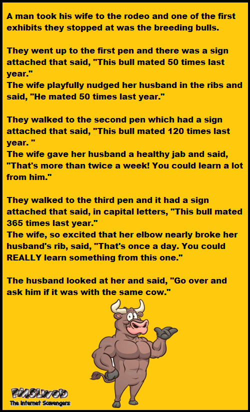 A man took his wife to the rodeo funny joke @PMSLweb.com