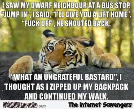 Funny dwarf at the bus stop joke @PMSLweb.com