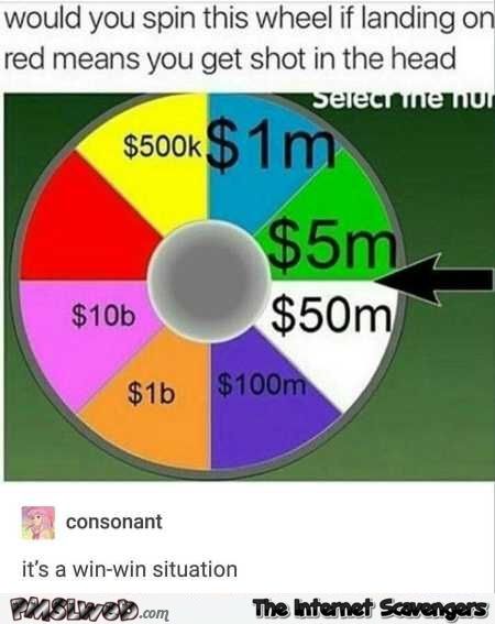Would you spin the wheel funny meme