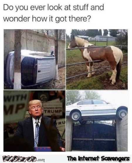 Do you ever look at stuff and wonder how it got there funny Trump meme @PMSLweb.com