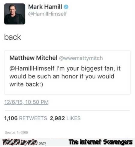 Mark Hamill and his biggest fan funny tweet @PMSLweb.com