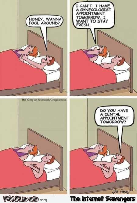 When your wife has a gynecologist appointment the next day funny cartoon @PMSLweb.com
