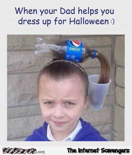When dad helps you dress up for Halloween funny meme @PMSLweb.com