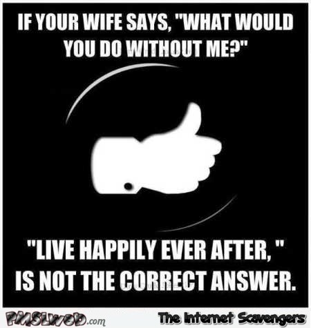 If your wife says what would you do without me sarcastic quote @PMSLweb.com