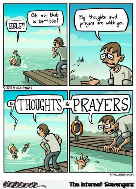 Thoughts and prayers funny cartoon @PMSLweb.com