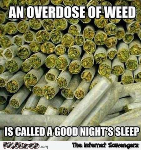 An overdose of weed is called a good night's sleep funny meme @PMSLweb.com