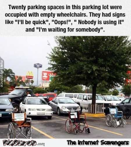 Funny wheelchair parking lot payback – Wednesday humor zone @PMSLweb.com