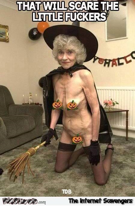 WTF old lady Halloween costume funny meme @PMSLweb.com