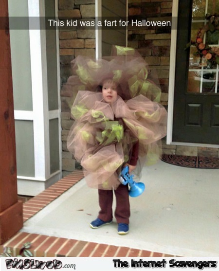 This kid was a fart for Halloween funny meme @PMSLweb.com