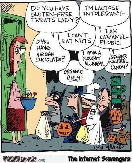 Kids these days at Halloween funny cartoon @PMSLweb.com