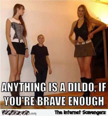 Anything is a dildo if you are brave enough funny meme @PMSLweb.com