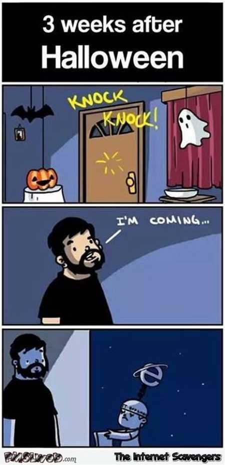Three weeks after Halloween funny cartoon @PMSLweb.com