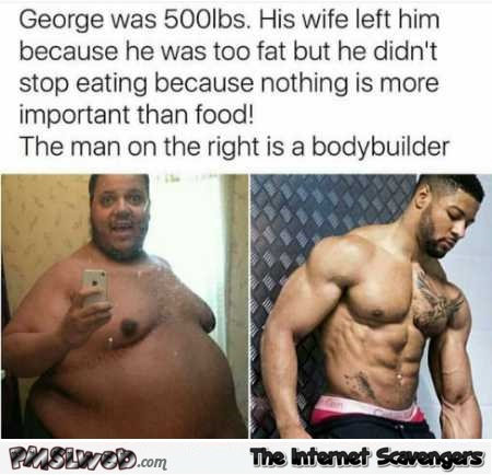 Fat man and body builder funny meme @PMSLweb.com