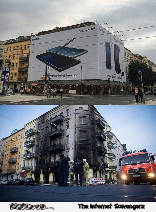 Funny galaxy note 7 advertising meme @PMSLweb.com