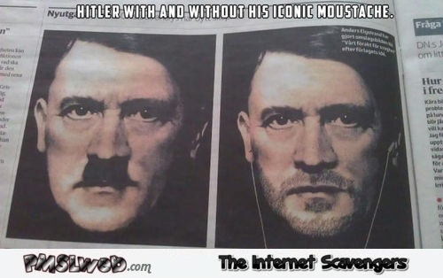 Hitler with and without his iconic mustache