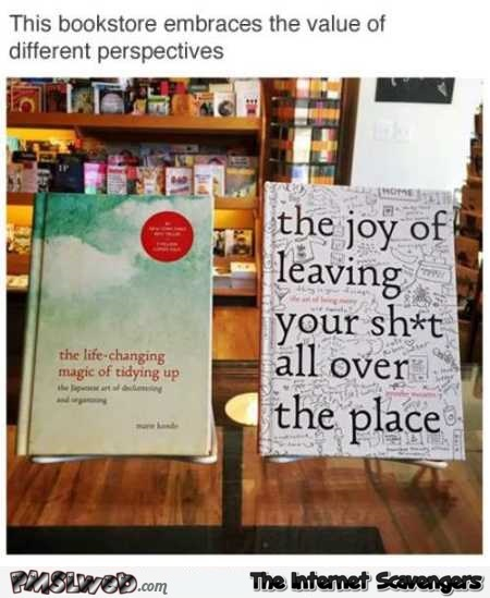 Book store embraces the value of different perspectives funny meme @PMSLweb.com