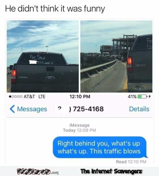 Funny traffic text message prank @PMSLweb.com