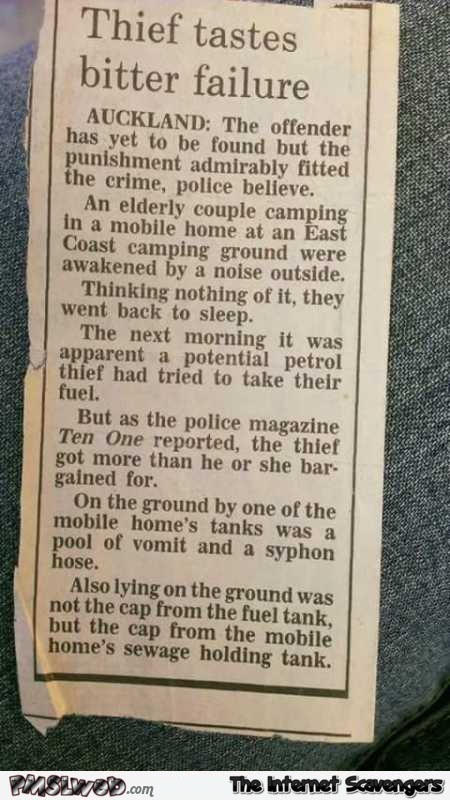 Theft fail funny news clipping @PMSLweb.com