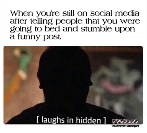 When you're still on social media after telling people you were going to bed funny meme @PMSLweb.com