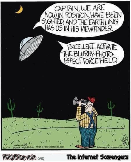 Catching a UFO on camera funny cartoon @PMSLweb.com