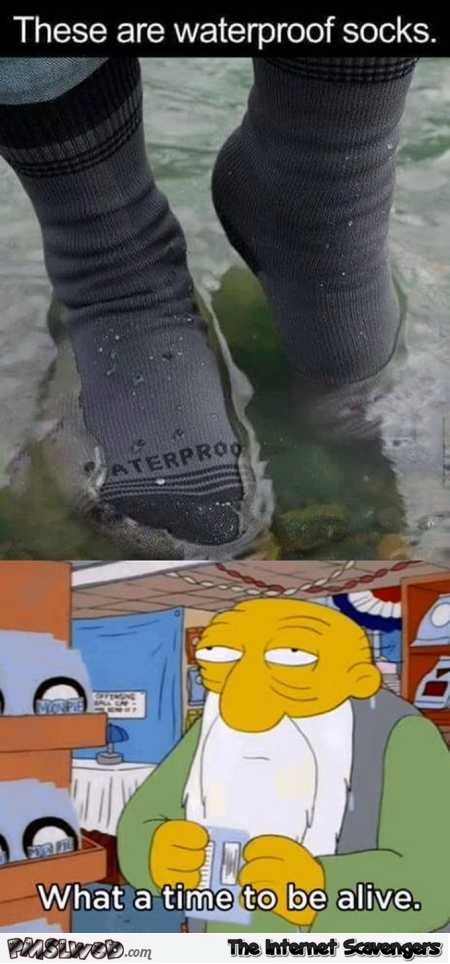 Funny waterproof socks meme – Wednesday chuckle zone @PMSLweb.com