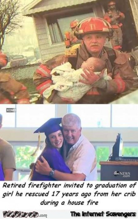 Girl and the fireman who rescued her 17 years later