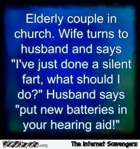 Elderly couple in church funny joke