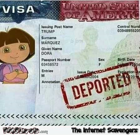 Trump will deport Dora the explorer humor @PMSLweb.com