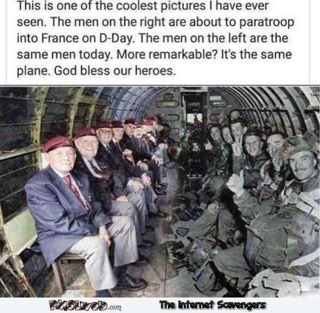 Awesome photo D-Day paratroopers before and after