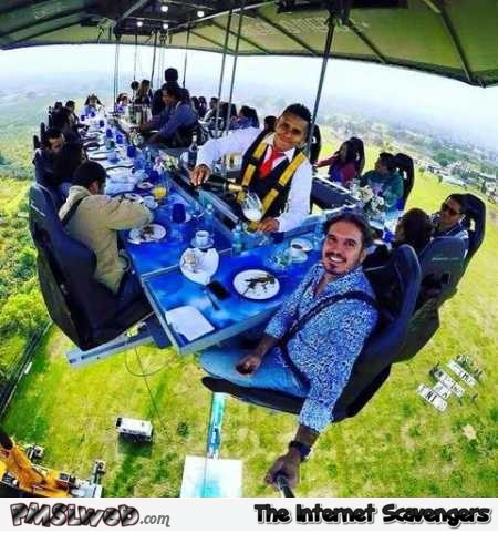 Eating above the ground awesome selfie