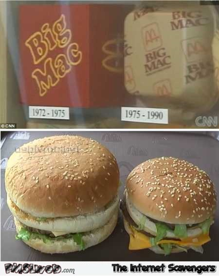Big Mac size comparison over the years