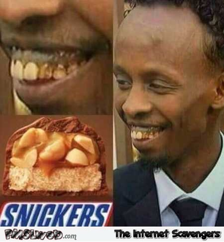 Funny Snickers teeth - Funny inappropriate Internet nonsense @PMSLweb.com