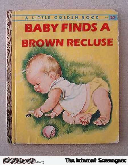 Baby finds a brown recluse funny children book cover @PMSLweb.com