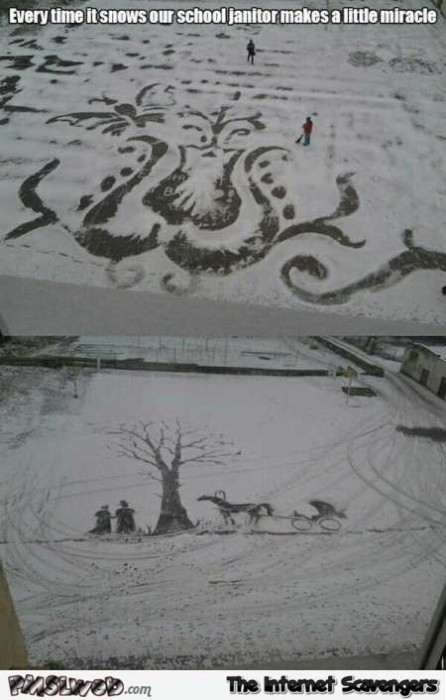 Creative janitor draws in the snow