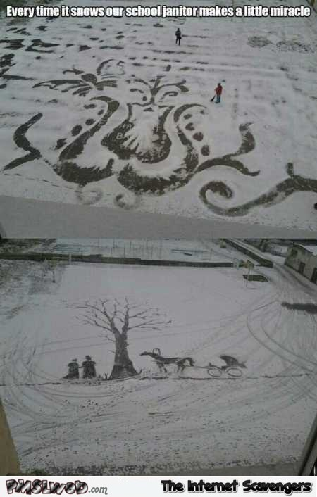 Creative janitor draws in the snow – Interesting miscellaneous Internet pictures @PMSLweb.com