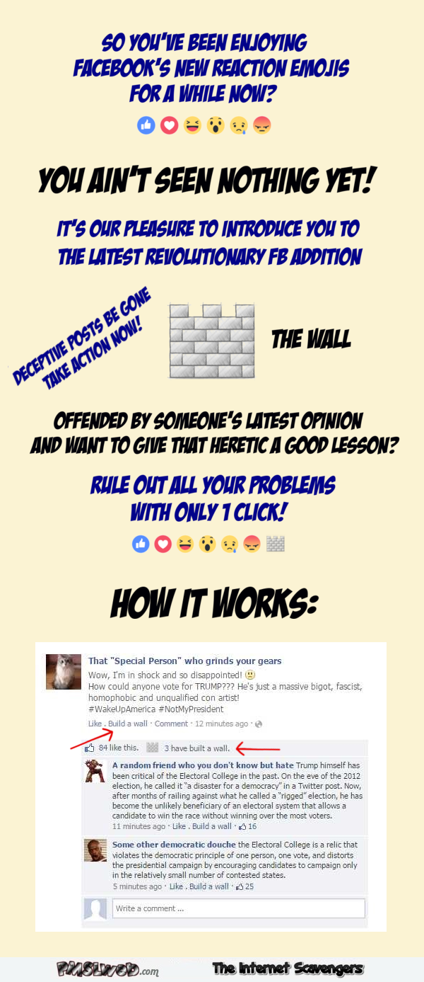 Funny new Facebook build a wall emoji @PMSLweb.com