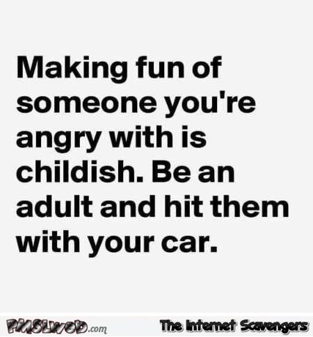 Making fun of someone you're angry with is childish funny quote - Amusing Wednesday pictures @PMSLweb.com