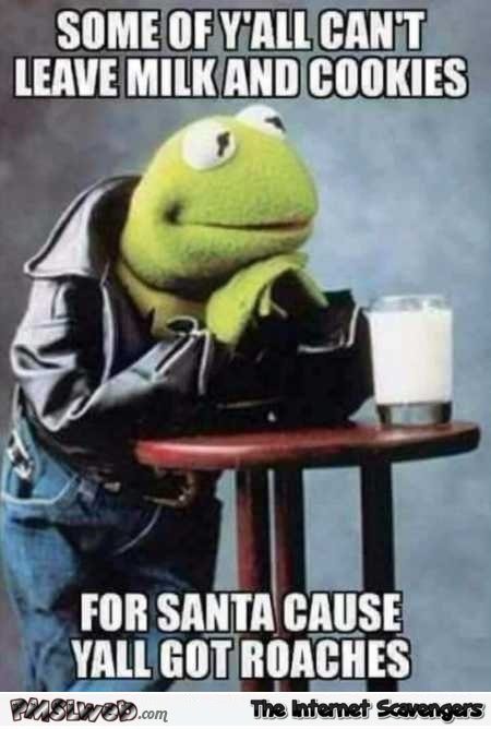 Some of you can't leave milk and cookies for Santa funny meme @PMSLweb.com