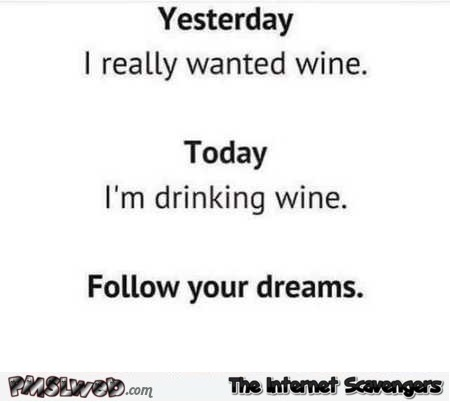 Follow your dreams funny wine edition – Saturday LMAO collection @PMSLweb.com