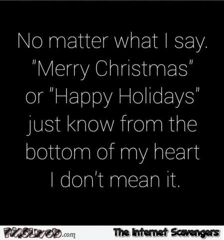 No matter what I say merry Christmas or happy holidays sarcastic humor @Pmslweb.com