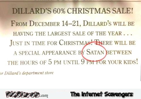 Funny Santa appearance announcement fail – Christmas humor @PMSLweb.com