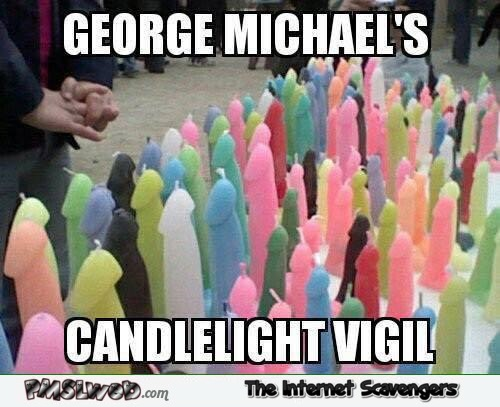 George Michael's candlelight vigil inappropriate humor @PMSLweb.com