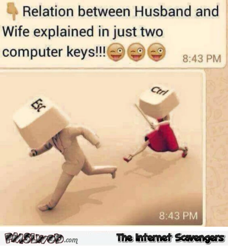 Relation between wife and husband explained with 2 computer keys humor @PMSLweb.com