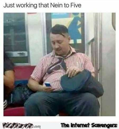Hitler in the subway funny meme @PMSLweb.com
