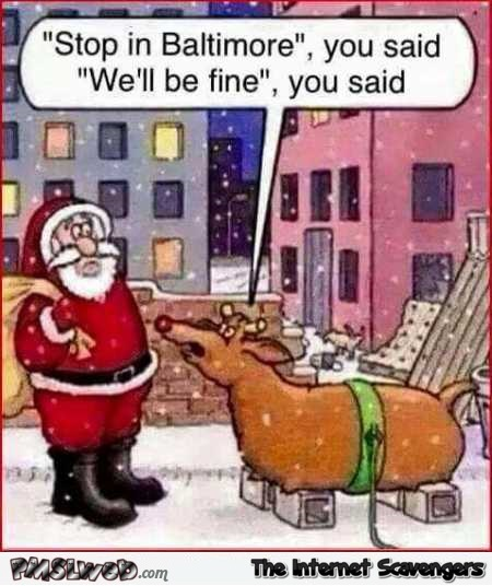 Santa stops in Baltimore funny cartoon