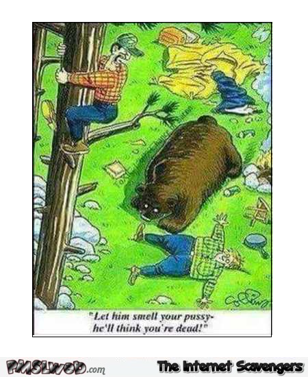 Let the bear smell your pussy funny cartoon @PMSLweb.com
