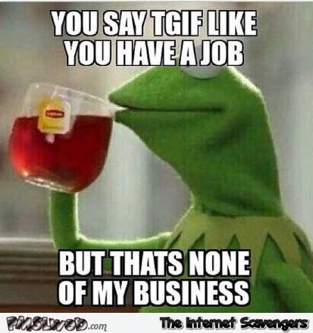 You say TGIF like you have a job funny meme @PMSLweb.com